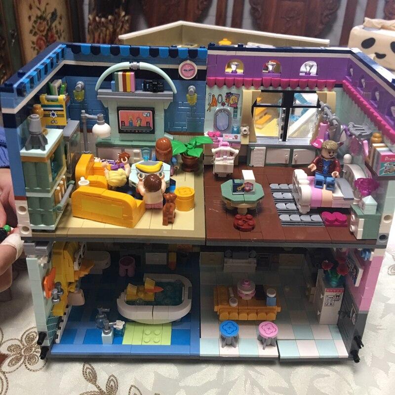 Corner Shower Living Room Bedroom Kitchen 3D Model DIY Mini Blocks Bricks Building Toy for Children no Box