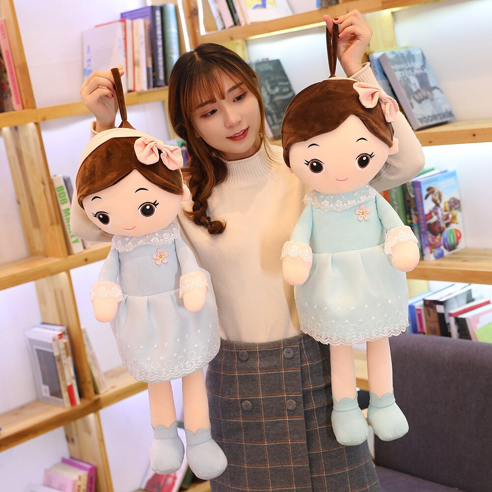 40-90cm Lovely Beautiful Girls with Lace Skirt Plush Toys Stuffed Dolls Soft Pillow for Kids Birthday Girls Valentine Gifts