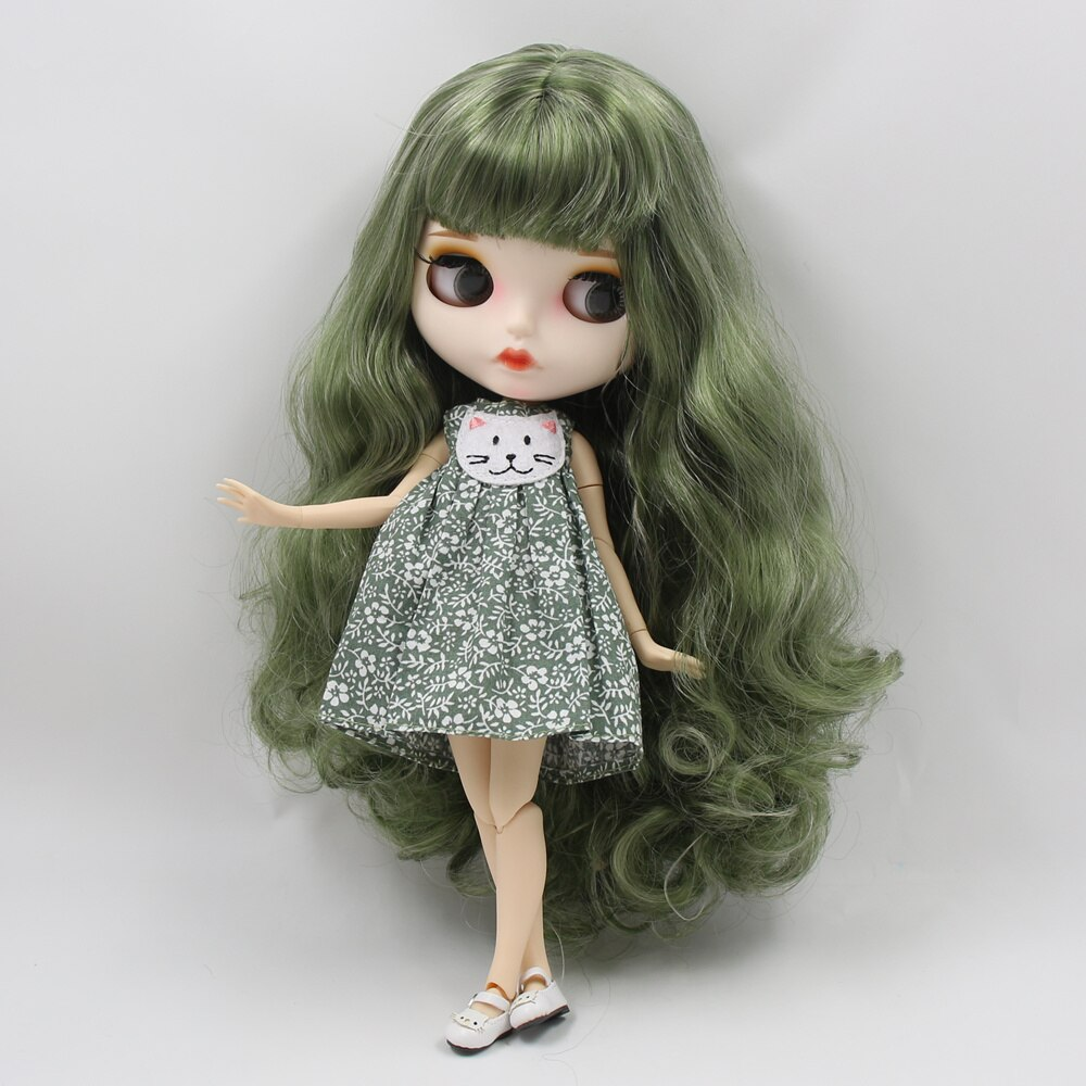 White skin joint body New matte face green mixed color curls hairs gift toy