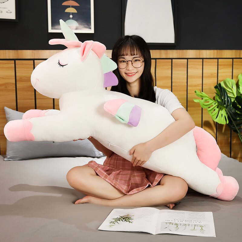 100CM Big Size Plush Lying Unicorn Pillow Plush Horse Soft Stuffed Animal Toy Cartoon Plush Dolls for Kids Girl Birthday Gift