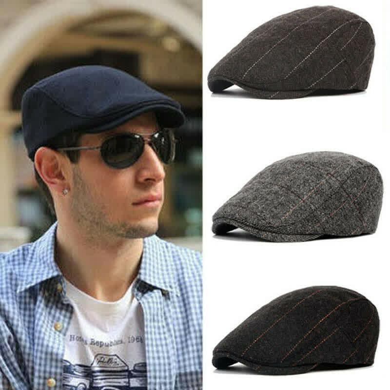Men Flat Cap Beret hats Herringbone Newsboy Hat Peaky Sport Golf Hat