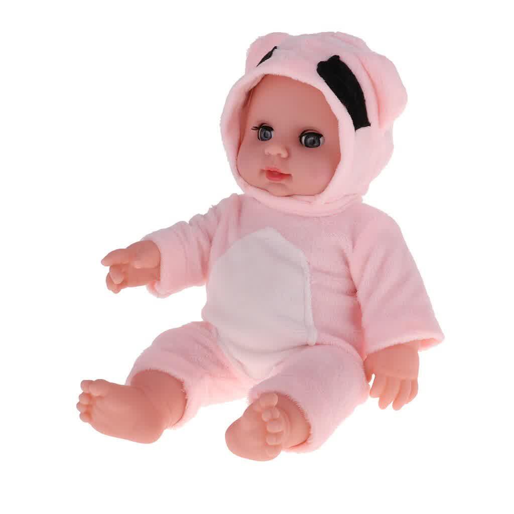 30cm Lovely Lifelike Newborn Baby Doll Model Soft Vinyl In Pink Jumpsuit