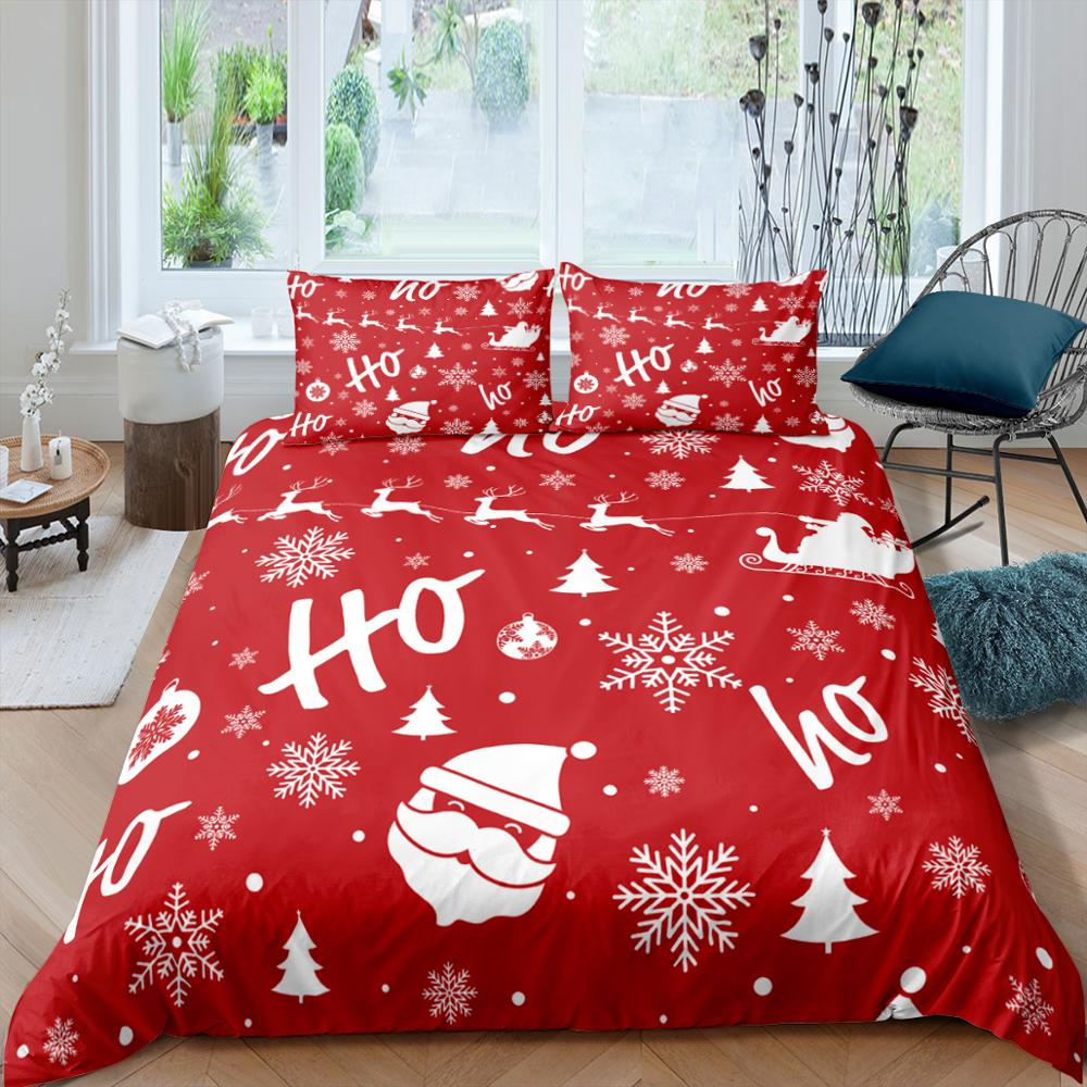 Christmas Pattern Bedding Set Queen  Cute Printed Duvet Cover Bedclothes 4 pcs Home Textiles Luxury High Quality Bedspread