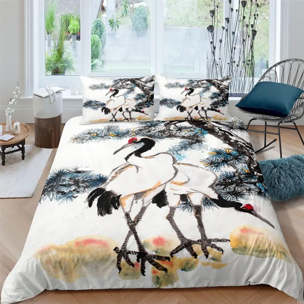 4 PCS Bedding Set 3D Digital Bedclothes King Size Plum Blossom Ink Painting Printed Duvet Cover Set Queen Home Textiles