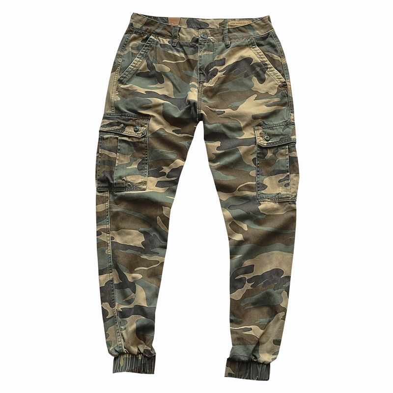 Autumn Retro Camouflage Cargo Pants Men's Washed Pocket Casual Loose Tappered Camouflage Jogging Trousers Ankle-Length Pants