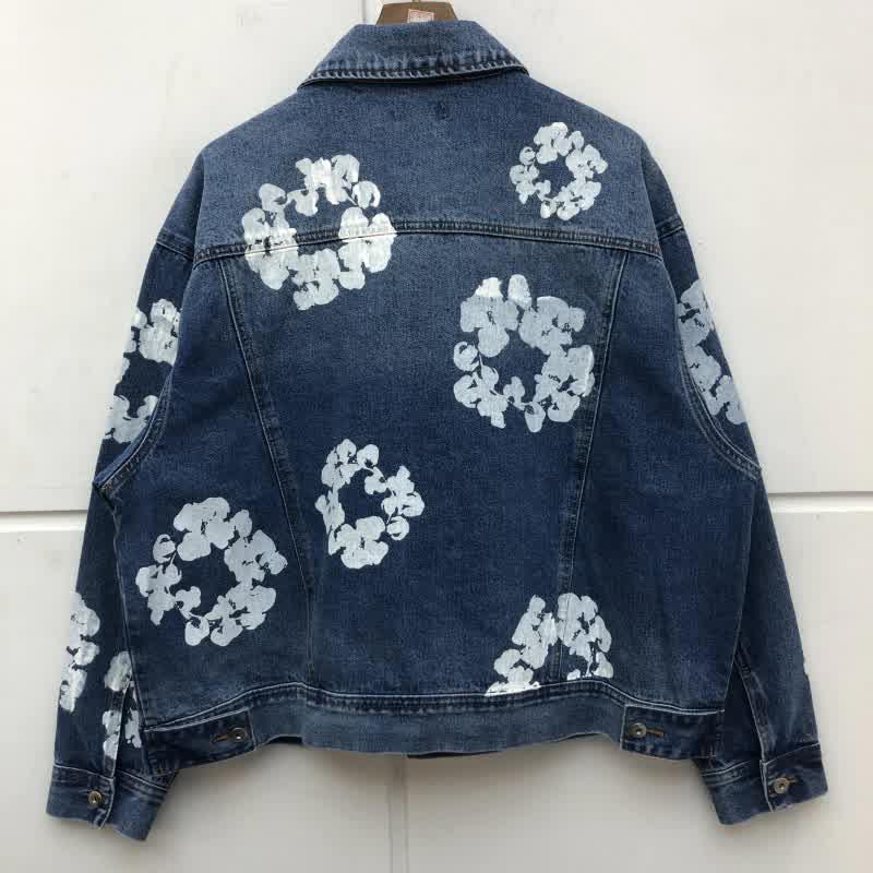 Flower Printing Slim Denim Jacket Men Women High-Q...