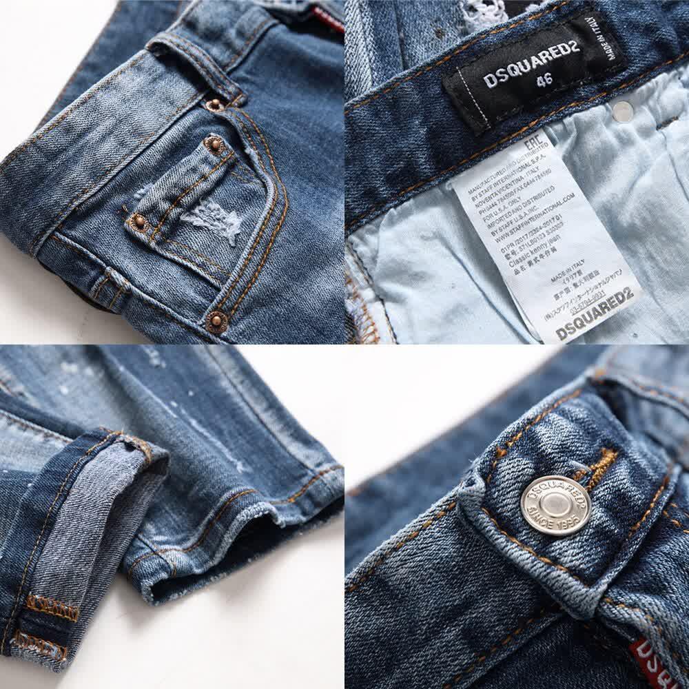 European men jeans famous Men slim  pants  denim trousers zipper blue hole Pencil Pants  for