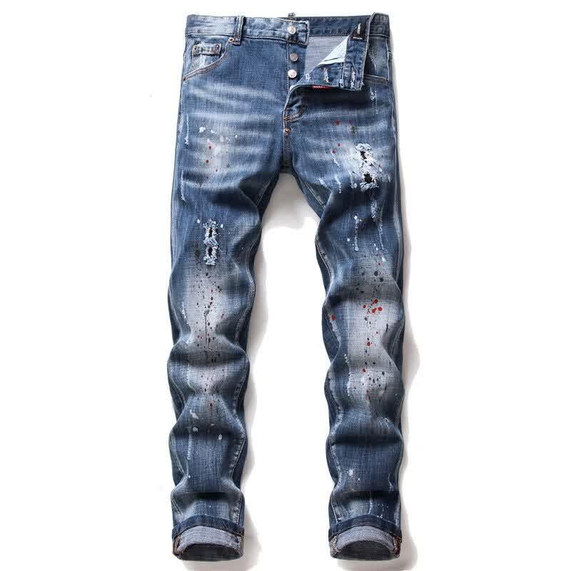 European men jeans famous Men slim  pants  denim t...