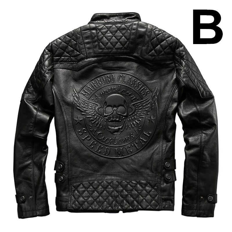 Asian size AFF7 rider jacket mens leather jacket m...