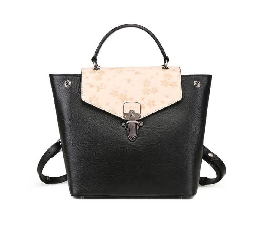 Women Genuine Leather Bpckpack Fashion Real Cowhid...
