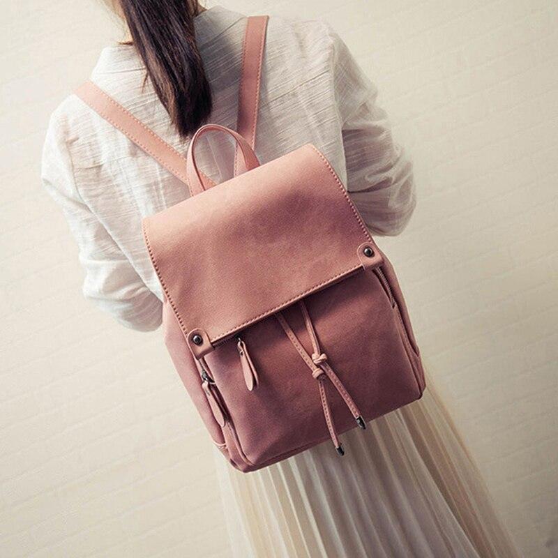 College Wind Backpack Shoulder Bag PU Leather Women's bag fashion ladies backpack