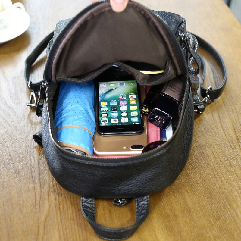 New lady small backpack women leather Shoulder Bag Multi-Function mini backpacks