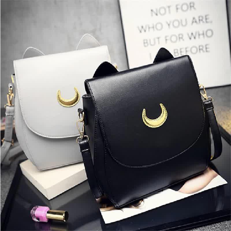 Anime Sailor Moon Satchel Luna Cat Backpack Black White Moon Pattern Girl Fashion Backpack
