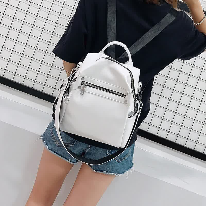 New Women's Leather Backpack Nylon Cloth Zipper Small Bagpack Casual School Bags