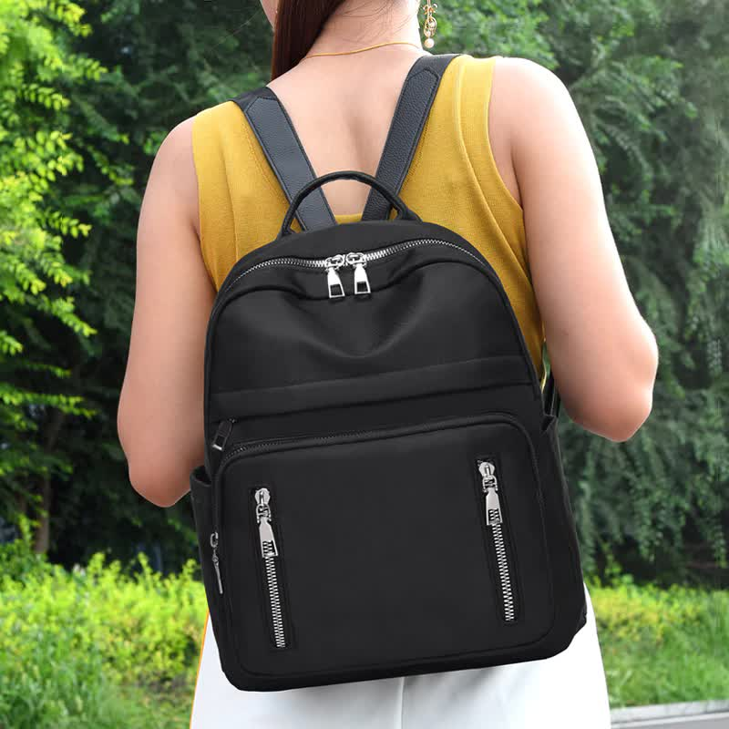 College style women's backpack waterproof Oxford cloth solid fashion school bag