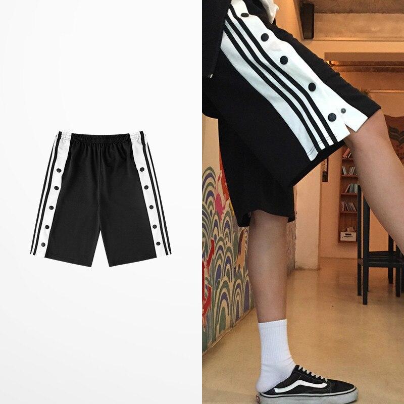 Hip Hop Retro Side Slip Fastener Shorts Men Casual...
