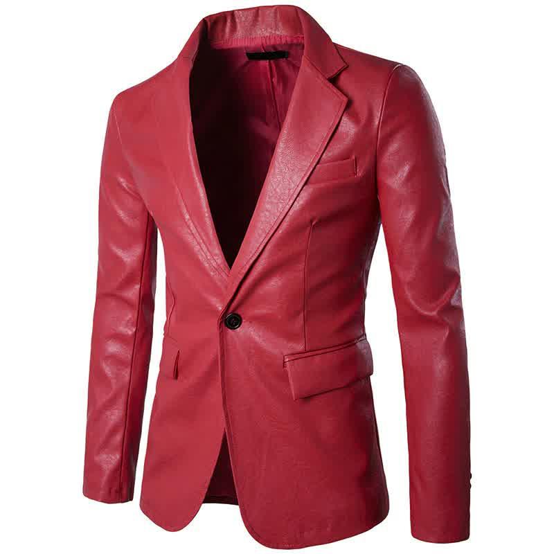 Male Slim High End Red Jacket Men Fashion Long Sl...