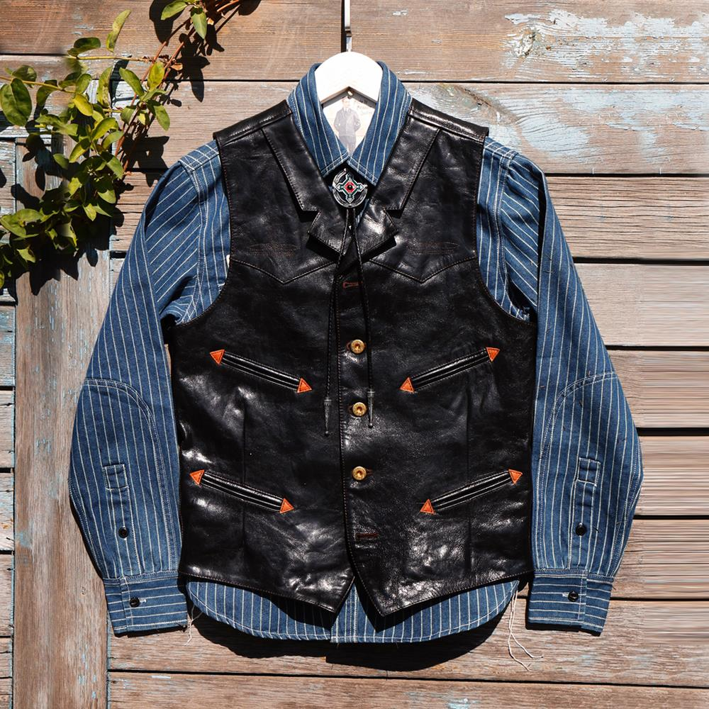American Retro Hunting Leather Tooling Vest Specia...