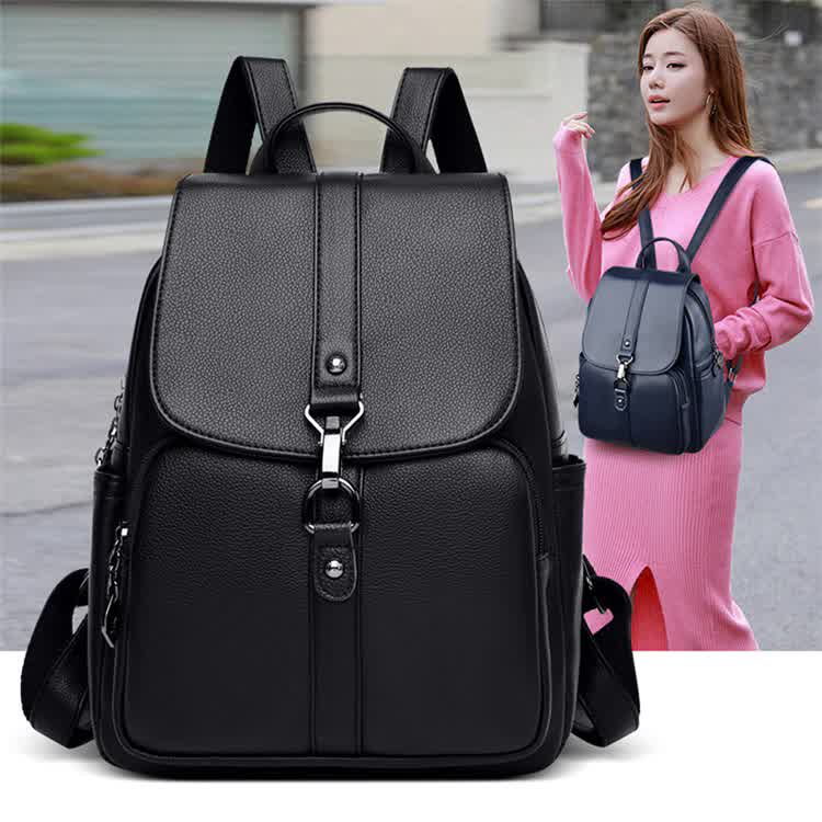 The New Women High Quality Leather Backpacks Female Shoulder Bag