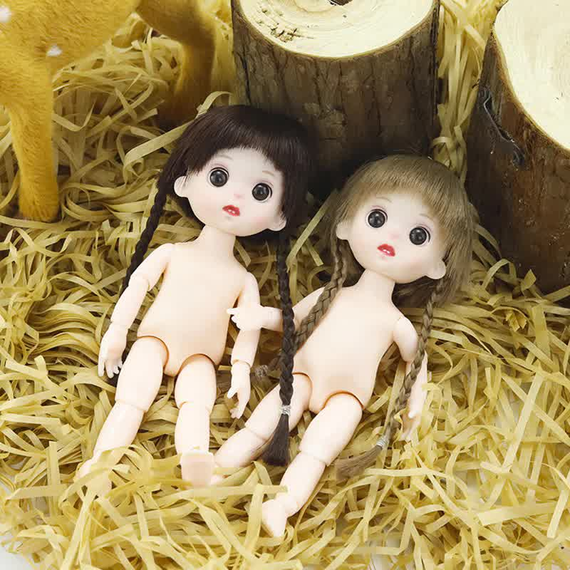 16cm Movable Jointed Movable Neck Dolls White Skin Double Braids Doll for Girls Toys Nude Body