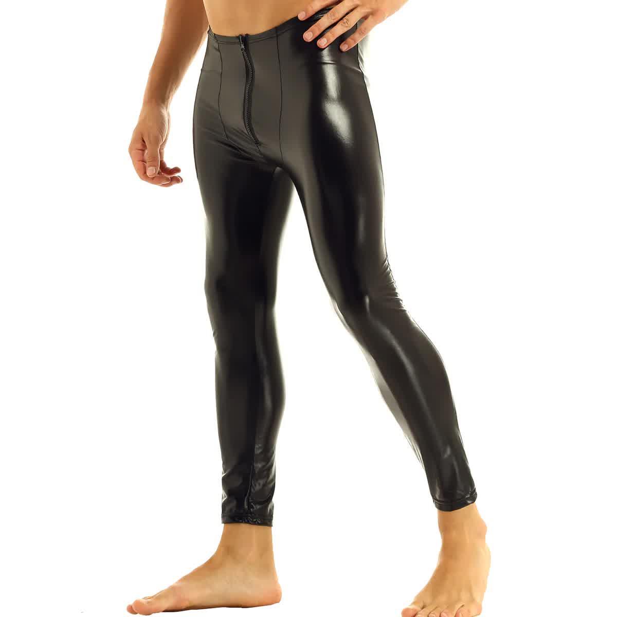 Black Mens Leather Zipper Bulge Pouch Tight Pants ...