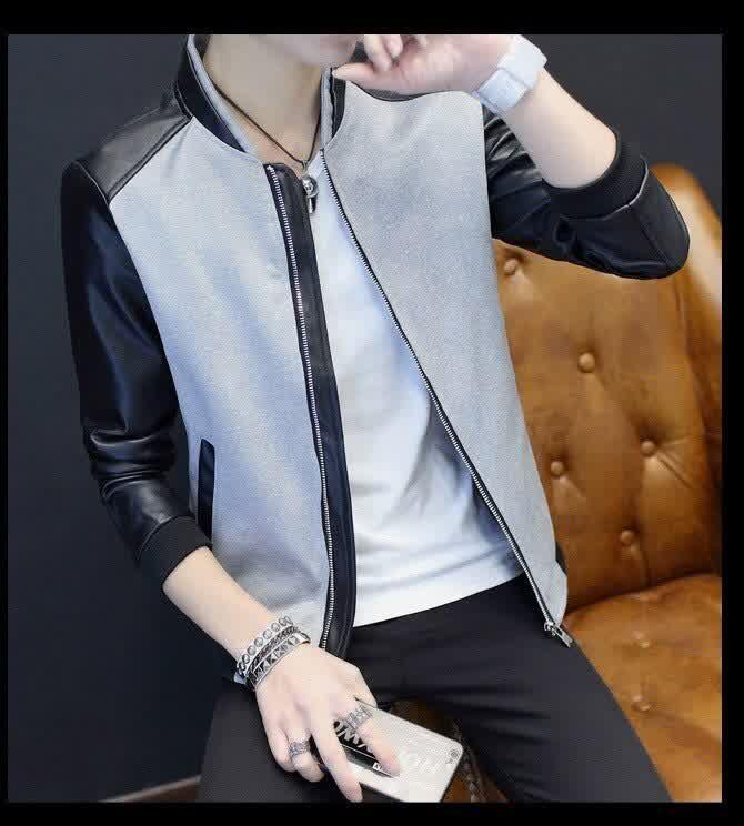 Autumn New Men's Leather Patchwork Jackets Slim Fi...