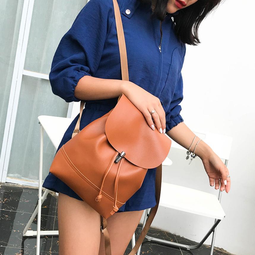 Fashion Women backpack Vintage Pure Color Leather School Bag Backpack
