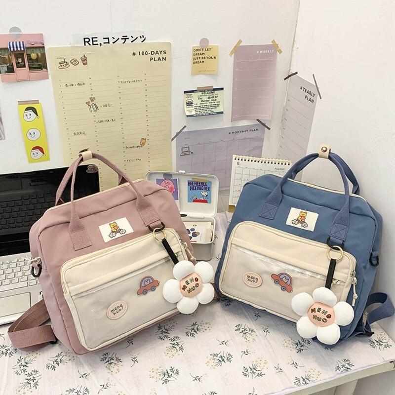 Cute Cartoon Labeling Print Backpack With Pendant  Travel Transparent Front Pocket  Shoulder Bag