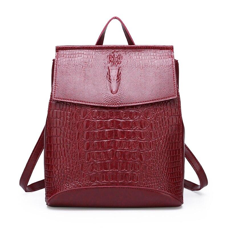 Fashion Lady High Quality Backpack Women Crocodile Pu Leather Female Backpacks