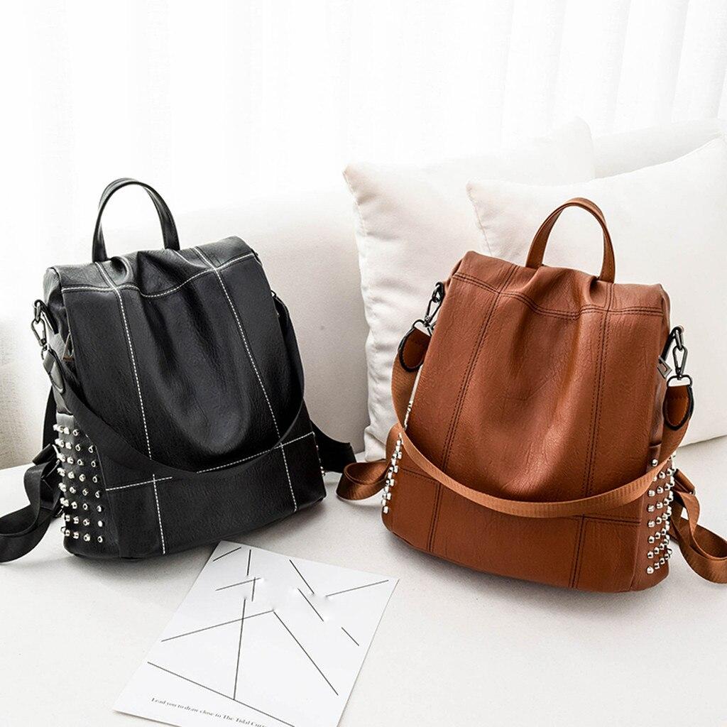 Fashion Women Backpack pu  Leather Rivet  Resistan...