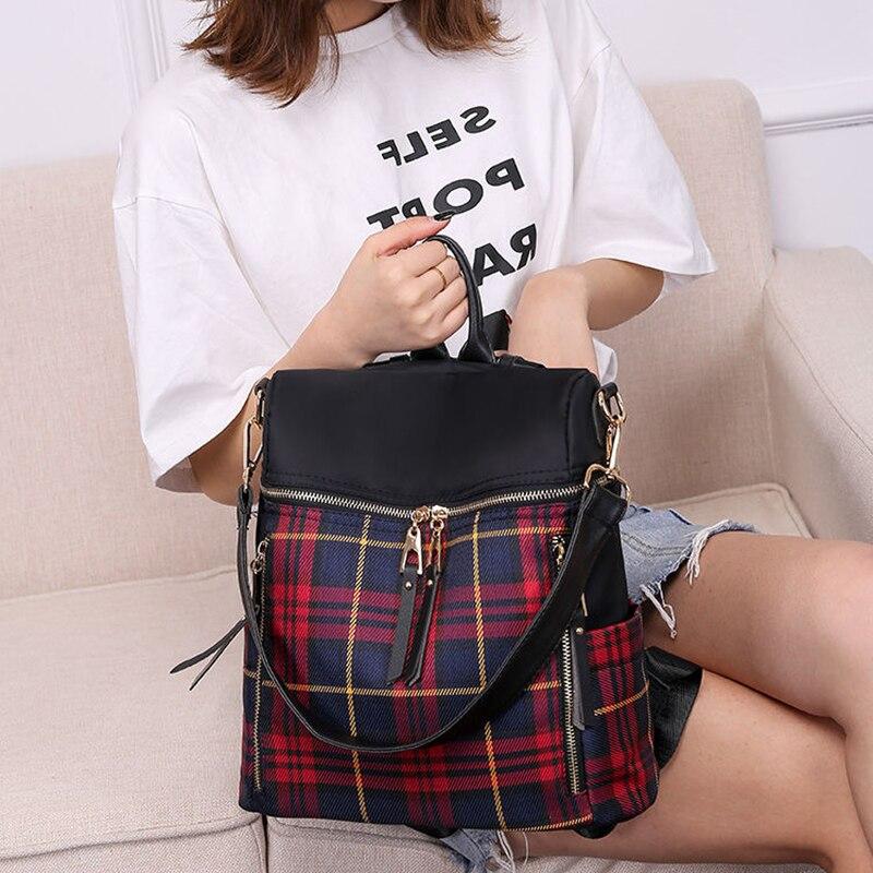 Fashion Lattice Headphone Plug Designer Backpack H...