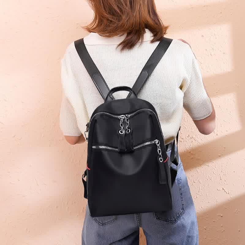Casual Oxford Backpack Women Black Waterproof Nylon School Bags
