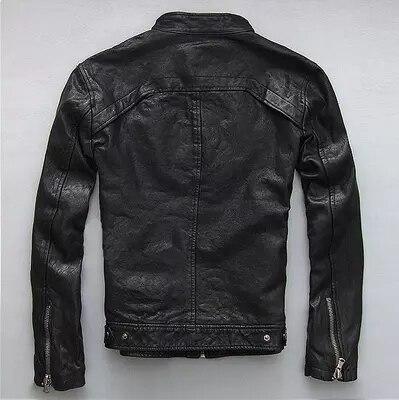 Autumn Men's Genuine Spring Leather Jacket Short S...