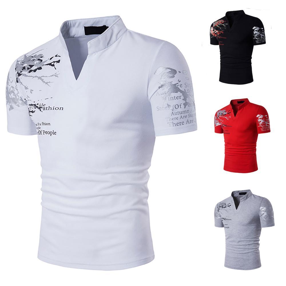 Cotton T-Shirts Mandarin Collar Short Sleeve Tee S...