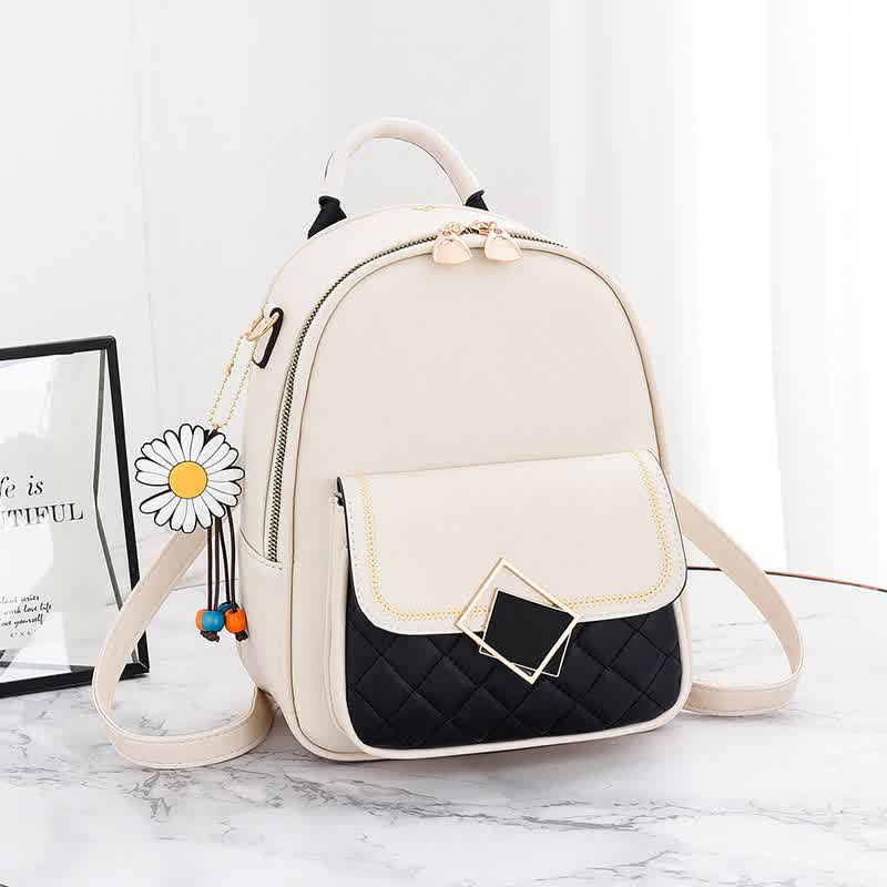 Backpack Women New Solid Color Small Backpack Girl Cute Casual PU Leather Backpack