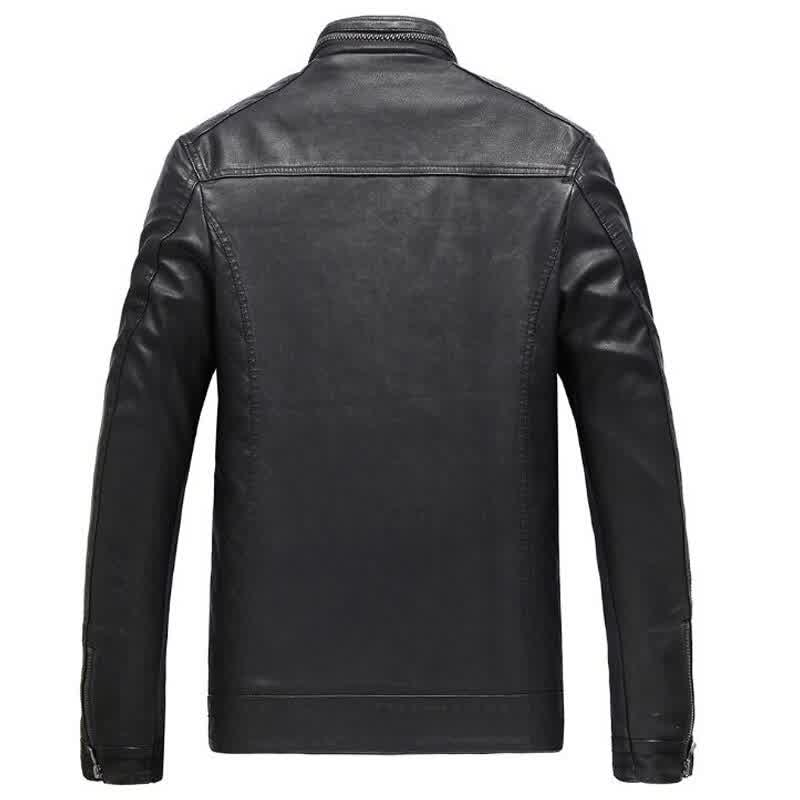 Leather Jacket Men Casual Stand Collar Motorcycle Leather Coats Mens Autumn Winter Fleece Moto Biker Suede Faux Jackets
