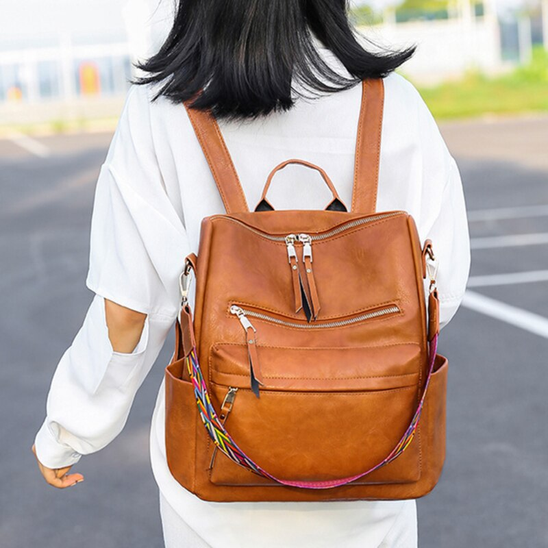 Backpack PU leather Large Capcity Ladies Travel Bag Women's Simple School Secondary Backpack