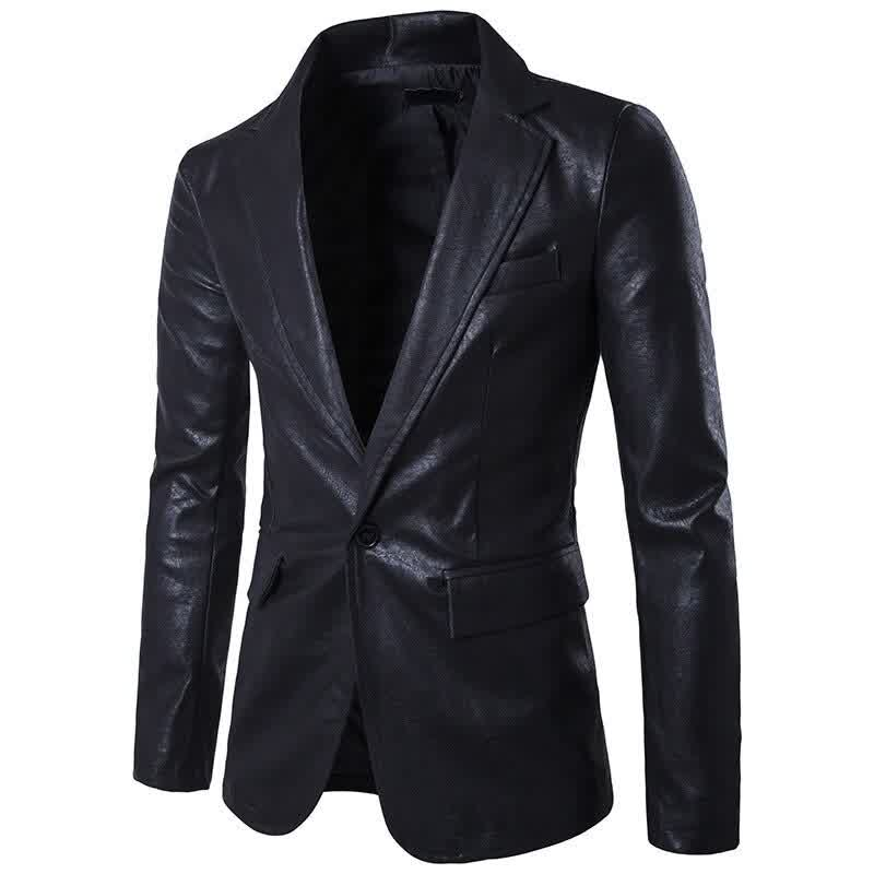 Male Slim High End Red Jacket Men Fashion Long Sleeve Formal Outerwear Faux Leather Spring Plus Size Coat Hot Sale