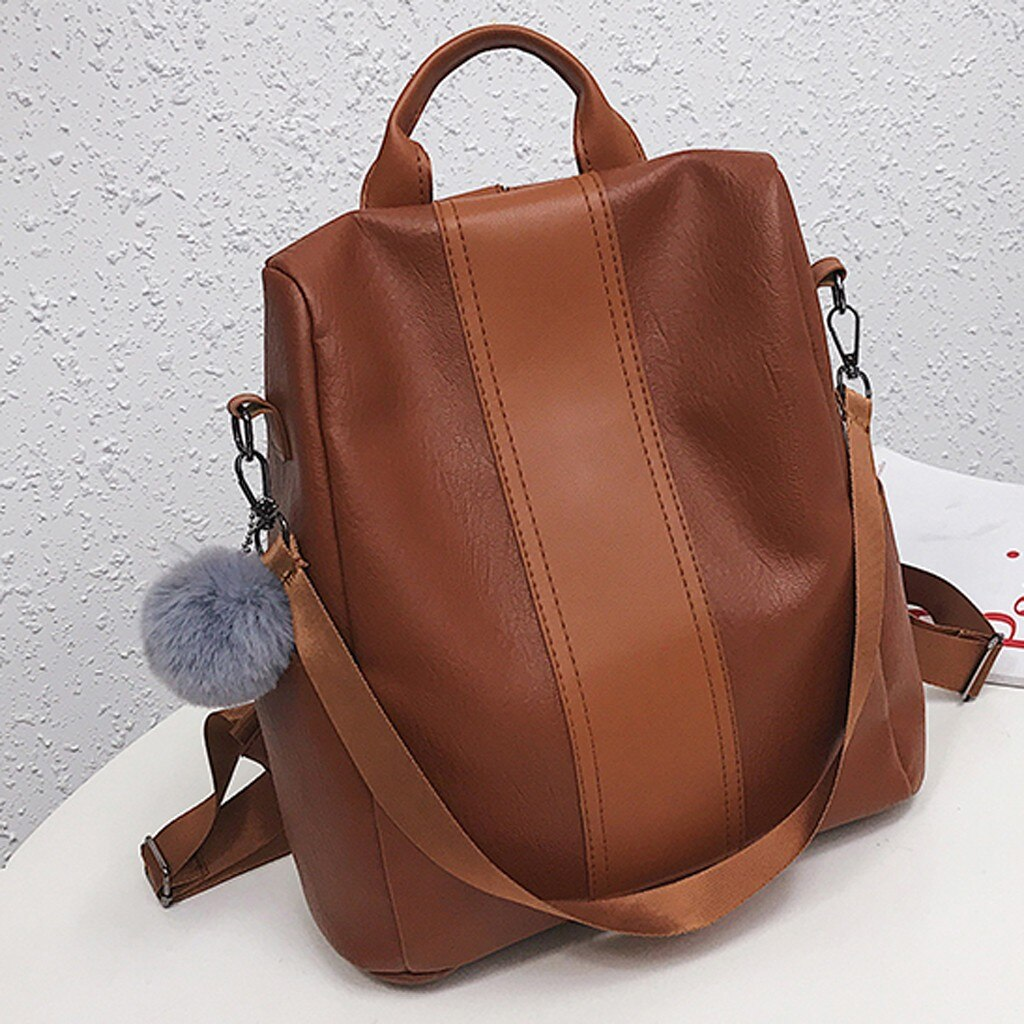 Women Female Anti-theft Backpack Classic Leather Solid Color Backpacks