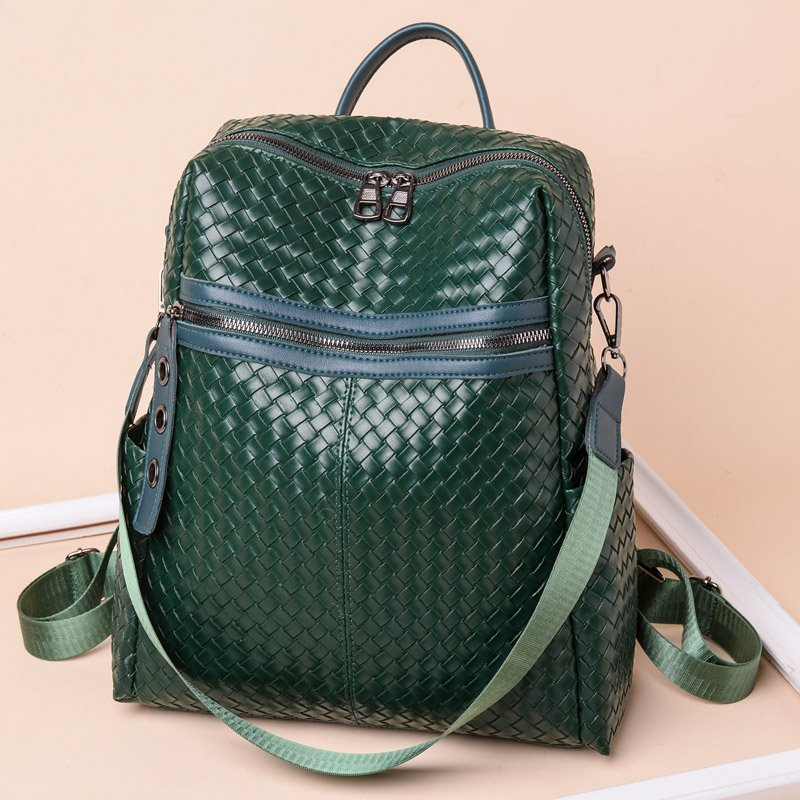 Fashion Backpack Women  New Large Capacity Woven Pattern PU Leather Bagpack